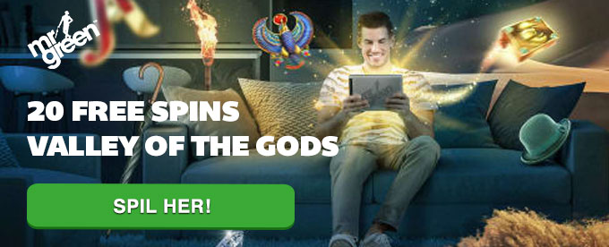 20 free spins til Valley of the Gods hos Mr Green